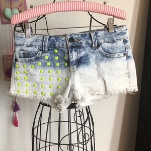 1st Kiss Jean Shorts with Yellow Studs